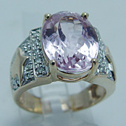 """Pink Kunzite 0.20ct Diamond """"14K Yellow Gold"""" Ring Large 7.9 Grams Size 6.75 (can be sized)"""