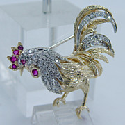 """High Quality """"18K Yellow Gold"""" Ruby VS1 Diamond Rooster Pin Brooch 7.4 Grams Made in Italy"""
