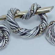 Vintage Signed Varsano Israel .925 Sterling Silver Clip Earrings Brooch Slide Pendant Set