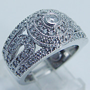 """Estate 12.1gr Hefty """"14K White Gold"""" .94ct Diamond Cocktail Ring with Guards"""
