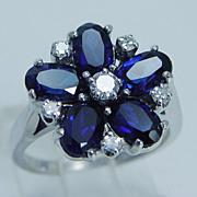 "Estate ""14K White Gold"" Genuine Sapphire Diamonds Flower Ring"