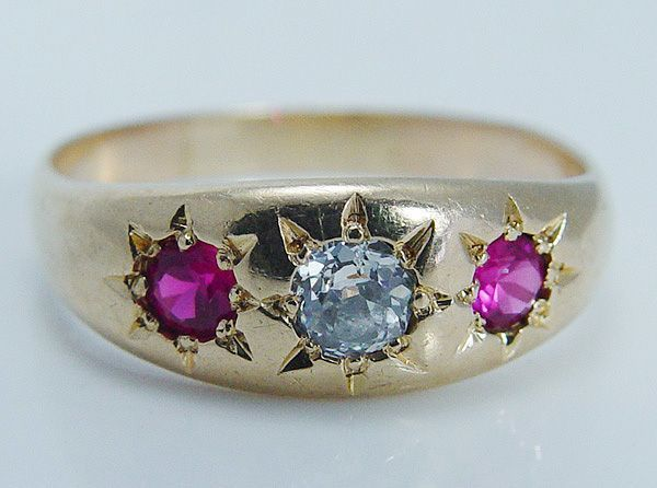 """Vintage Jewelry 1910s Old Miner Diamond Ruby """"14K Yellow Gold"""" Ring Band Hallmarked"""