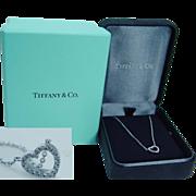 "Authentic ""18K White Gold"" Tiffany&Co White Diamonds Heart Pendant Necklace Chain w/Box Long 16 inches"