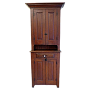 Step Back Country Cupboard Pine American Circa 1870