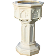 Marble Baptismal Font Gothic Hand Carved