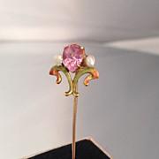 Lavish Art Nouveau 14K Enamel Pink Stick Pin