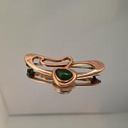 Beautiful Art Nouveau 9K Jade Pin