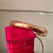 Art Nouveau 14K Gold Floral Bangle Bracelet