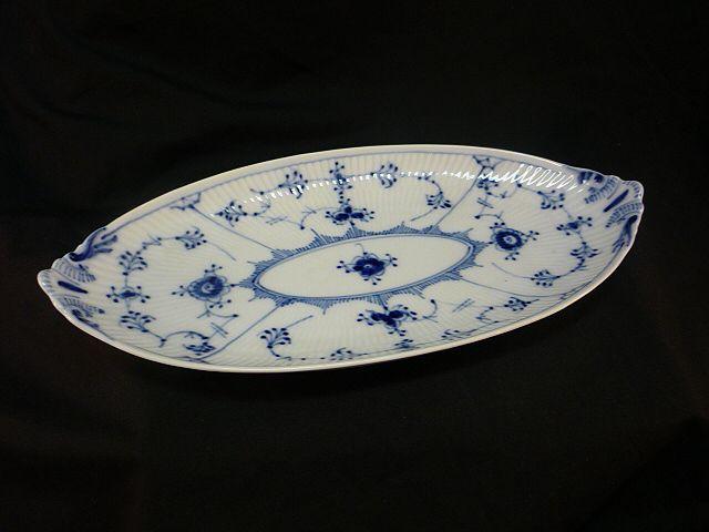 Vintage Royal Copenhagen Blue Fluted Lace Porcelain Oval Pickle Dish