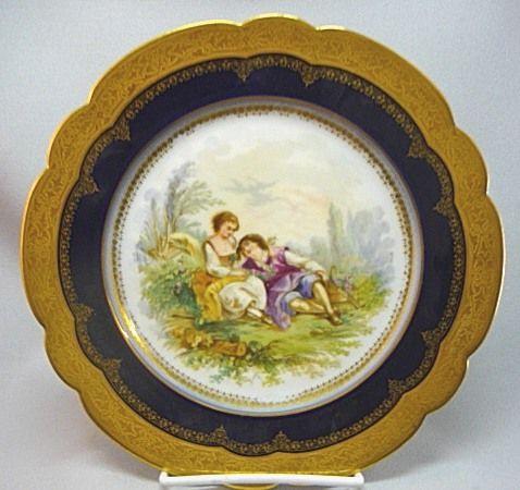 Antique 1846 French Sevres Porcelain Cobalt Gilt Plate W Couple