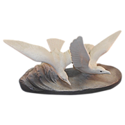 Sevres Vinsare France Seagull Group Sculpture Ceramic Textured Glaze Art Deco Era