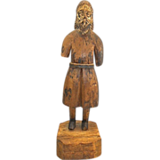 Antique Mexican Spanish Colonial Santos Wood Carving Folk Art