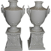 Pr Nymphenburg Porcelain Blanc De Chine Satyr Urns