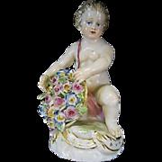 Old Meissen Germany Porcelain Putti Figurine W Flowers Kandler Design