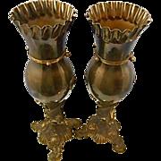 Antique Pr Bradley Hubbard Brass Metal Urns Vase Dolphin Cherub