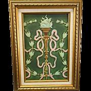 American Encaustic Art Pottery Tile Plaque Matte Green Torch Bellflowers