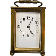 Antique French D Barrois Mini Brass Carriage Clock France Great Working Condition