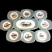 Vintage Set Porcelain Fish Platter Tray Plates Figgjo Flintz Norway