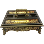 Antique French Empire Napoleon Boulle Inkstand Desk Accessorie W Ormolu Paw Feet Acanthus Leaves