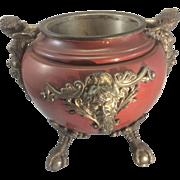 Antique European Mixed Metal Claw Ball Foot Potpourri Incense Burner W Caryatid Cherubs Bacchus Ormolu Urn Vase Pot