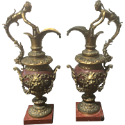 Pair Antique French Gilt Bronze Rouge Red Marble Ewers Urns W Caryatids Bacchus Mask Griffin