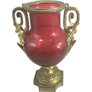 Antique French Baccarat Cranberry Red Art Glass W Gilt Bronze Ormolu France Louis XVI