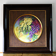 """Limoges porcelain hand painted framed charger with grapes, artist signed """"SARLANGEAS"""", after 1891"""
