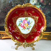 13.5'' Limoges France hand-painted tray/platter, heavy gold rim, signed, 1900-1932