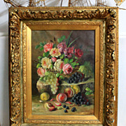 """Fantastic late 19th century oil painting on canvas, """"Still life with flowers and fruits"""", signed by Céline Genyn"""","""