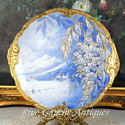 """14.25"""" Limoges Large Gold Encrusted Scenic & Floral Charger in Serene Shades of Blue and White"""