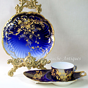 Stunning Limoges France cobalt blue charger/ dessert plate, 1882-1890