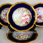 """REDUCED Museum quality ~ Set of 4 hand-painted Limoges France cobalt blue chargers, raised gold border, artist signed """" J. Barbarin"""", Circa 1900"""