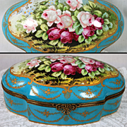 """13"""" French Limoges large hand-painted box/ jewelry casket scenic roses, raised gold gilt, Artist signed """"RIBES"""""""