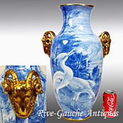 20'' tall huge Limoges France vase with the gold goat -head handle, artist signed, 1920s
