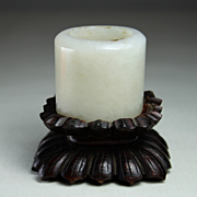 Antique Chinese White Jade Archer Thumb Ring, 18th -19th century, middle Qing Dynasty