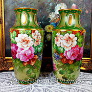 """Rare 14.75"""" tall Pair of Limoges France hand-painted roses vases, signed """"Gandois. M"""", 1930s"""