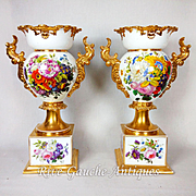 """Pair of 18"""" tall Old Paris Porcelain vases with hand-painted roses and flowers ~ Museum Quality Masterpiece, 1850s"""