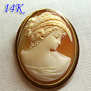 "vintage shell cameo 14k gold brooch/ pendant –  portrait of ""DEMETER"""