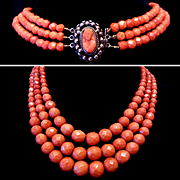 REDUCED 104 grams Antique 19th century natural faceted red coral necklace of 3 strands with a super silver clasp with coral cameo