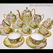 """WOW!! 23 pieces of French Limoges Hand-painted Roses Tea/ coffee Set, heavy gold decoration, artist signed """"Marcedet Limoges"""", 1909-1938"""