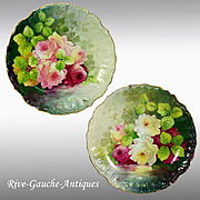 """REDUCED 12.2"""" Pair of hand painted Limoges France chargers with the roses; artist signed """"Max"""", after 1900"""