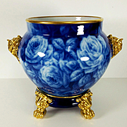 """11.8"""" tall Large Limoges hand-painted Jardiniere/cache-pot with elephant head handles on separate base, Paw/Claw Feet, Cobalt & Gold gilt with hand painted roses, artist signed """"BARNY"""""""