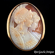 """Large shell cameo 18k gold brooch/ pendant ---""""Athena with her mother Metis"""""""