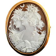 Extra Large 18k Gold Carved Shell Cameo Brooch, Day and Night Eos Nyx, early 20th century