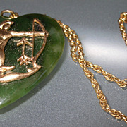 Large Jade Heart and 14kt Gold applied  Sagatarrius Astrology Sign Necklace