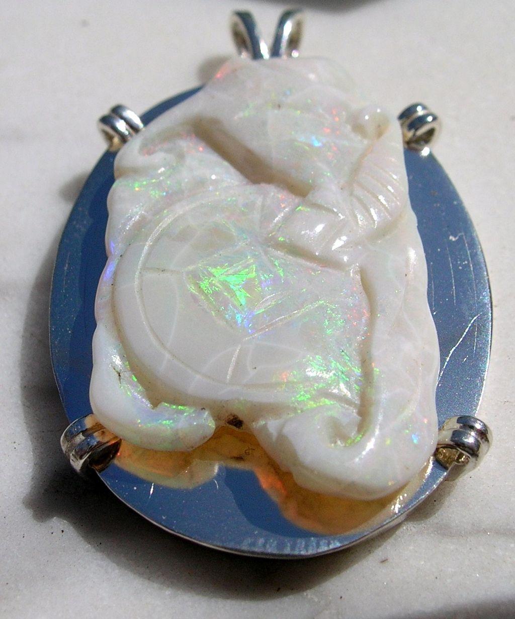 Estate Vintage Sterling Large Natural Carved Opal Elephant Pendant