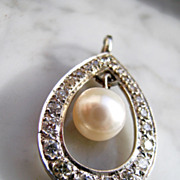 Vintage Cultured Pearl and Diamond Pendant