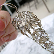 Sterling  Silver Chinese Filigree Dangling Telescoping Hairpin