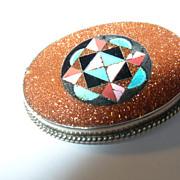 Rare  Geometric Sterllng Silver Pietra Dura  Pendant