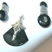 Black Onyx Art Deco Sterling Silver Necklace Earring Set